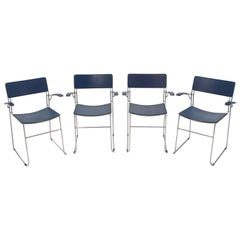 Four Arrben Sultana Chairs in Dark Blue Leather, Italy, 1980s