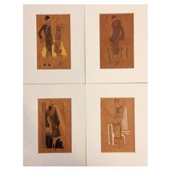 Four Art Deco Fashion Drawings 20th Century Women Fashion Design Sketches