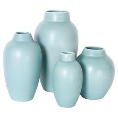 Four Art Pottery Green Vases
