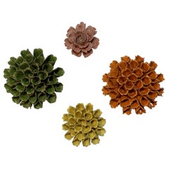 Four Artistically Made Ceramic Floral Wall Hanging