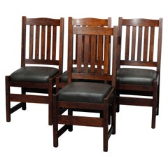 Four Arts & Crafts L&JG Stickley Mission Oak & Leather Dining Chairs, c1910
