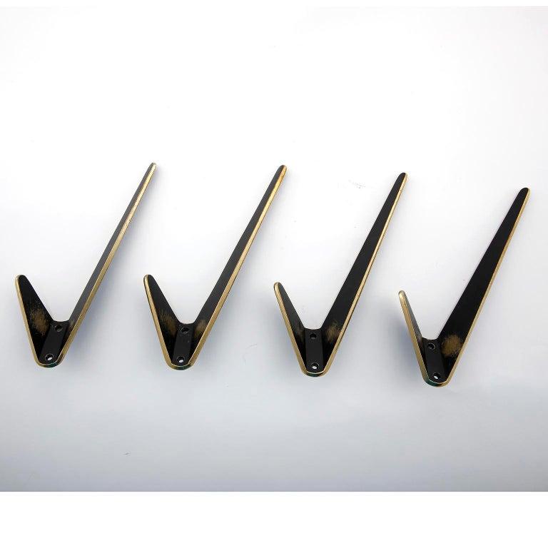 Austrian Four Asymmetric Coat Wall Hooks, Blackened Brass, Walter Bosse, Austria, 1950s For Sale