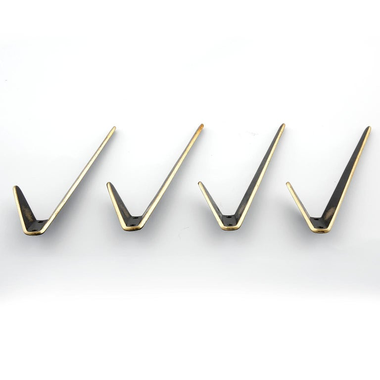 Four Asymmetric Coat Wall Hooks, Blackened Brass, Walter Bosse, Austria, 1950s In Good Condition For Sale In Vienna, AT