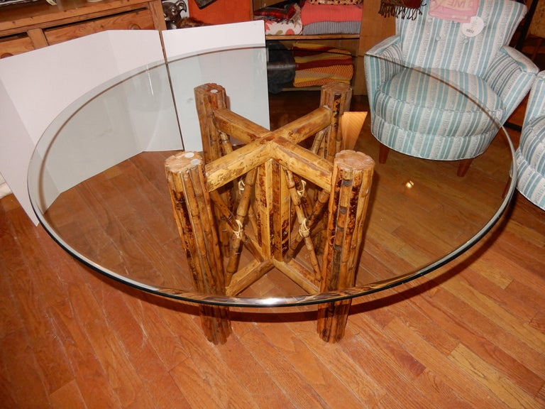 Anglo-Indian Four Bamboo and Cane Dining Chairs, 1920s For Sale