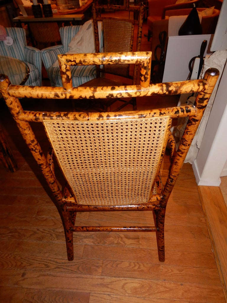 British Four Bamboo and Cane Dining Chairs, 1920s For Sale