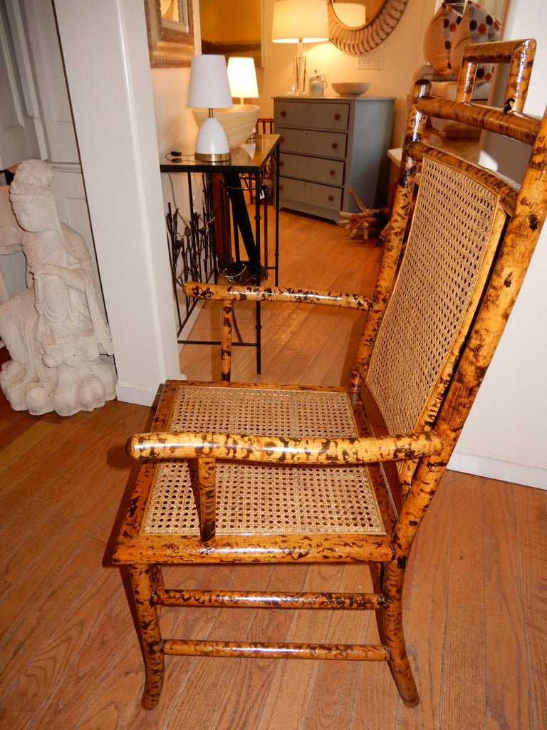 Fired Four Bamboo and Cane Dining Chairs, 1920s For Sale