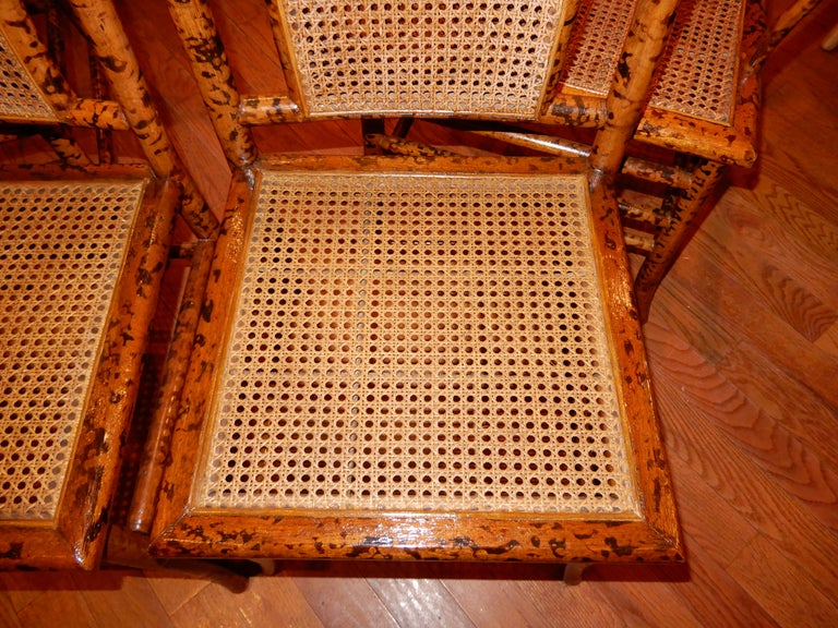 Four Bamboo and Cane Dining Chairs, 1920s For Sale 2