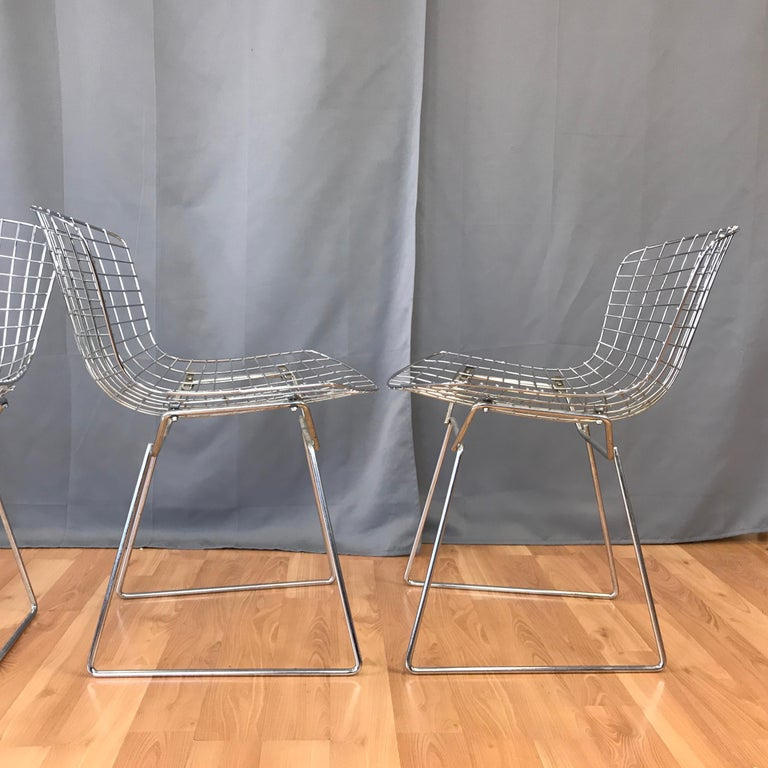 Four Bertoia Chrome Side Chairs for Knoll For Sale 3