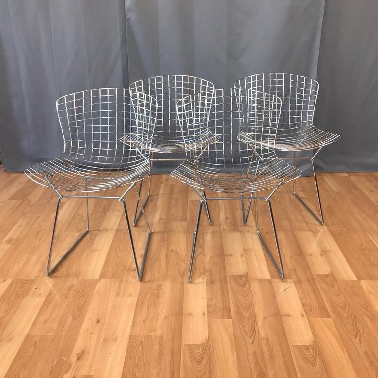 Mid-Century Modern Four Bertoia Chrome Side Chairs for Knoll For Sale