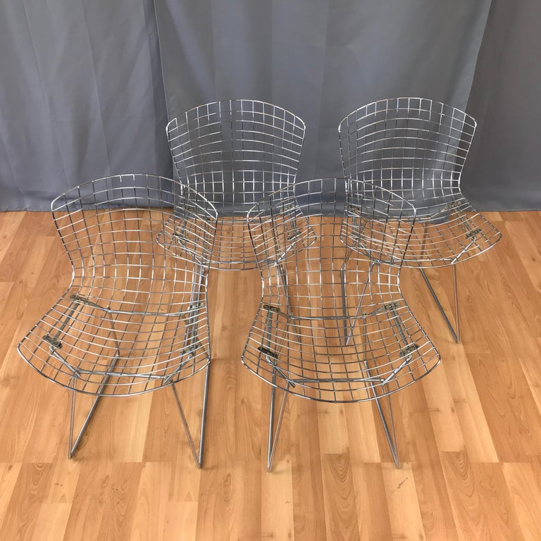 American Four Bertoia Chrome Side Chairs for Knoll For Sale