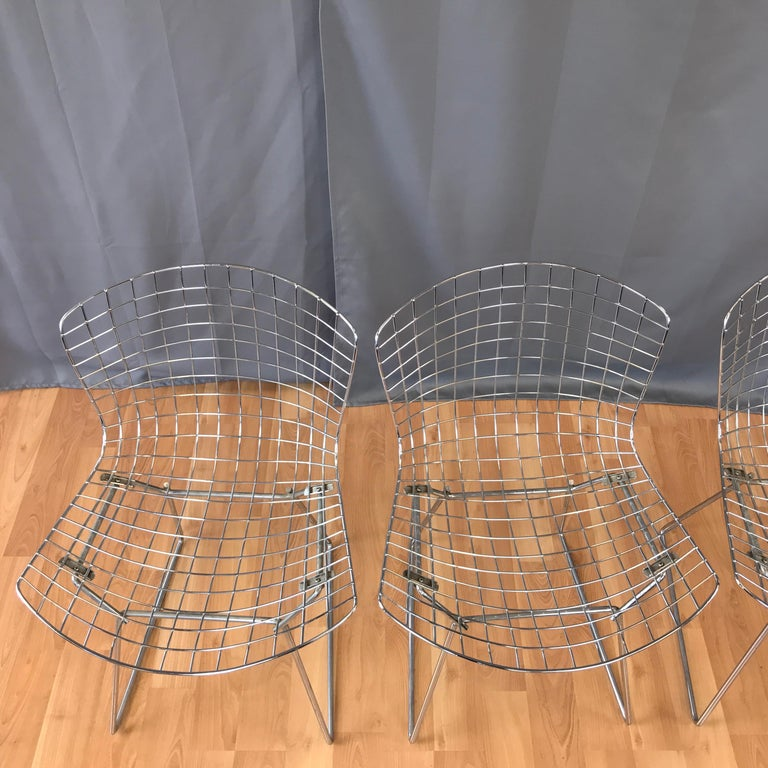 Four Bertoia Chrome Side Chairs for Knoll In Good Condition For Sale In San Francisco, CA