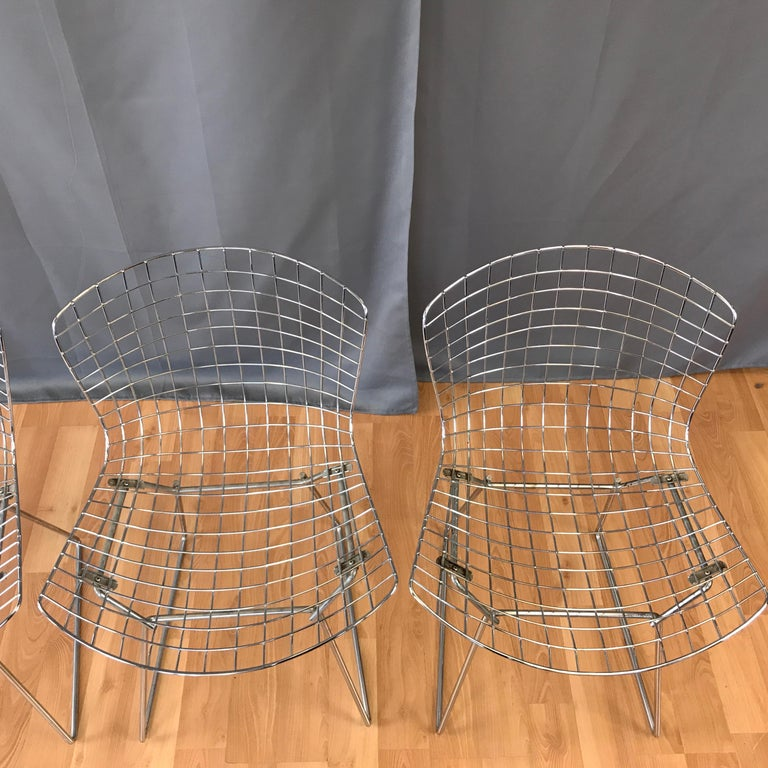 Late 20th Century Four Bertoia Chrome Side Chairs for Knoll For Sale