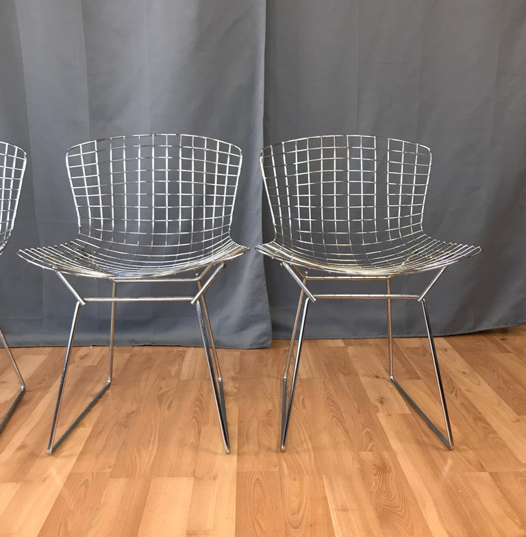 Metal Four Bertoia Chrome Side Chairs for Knoll For Sale