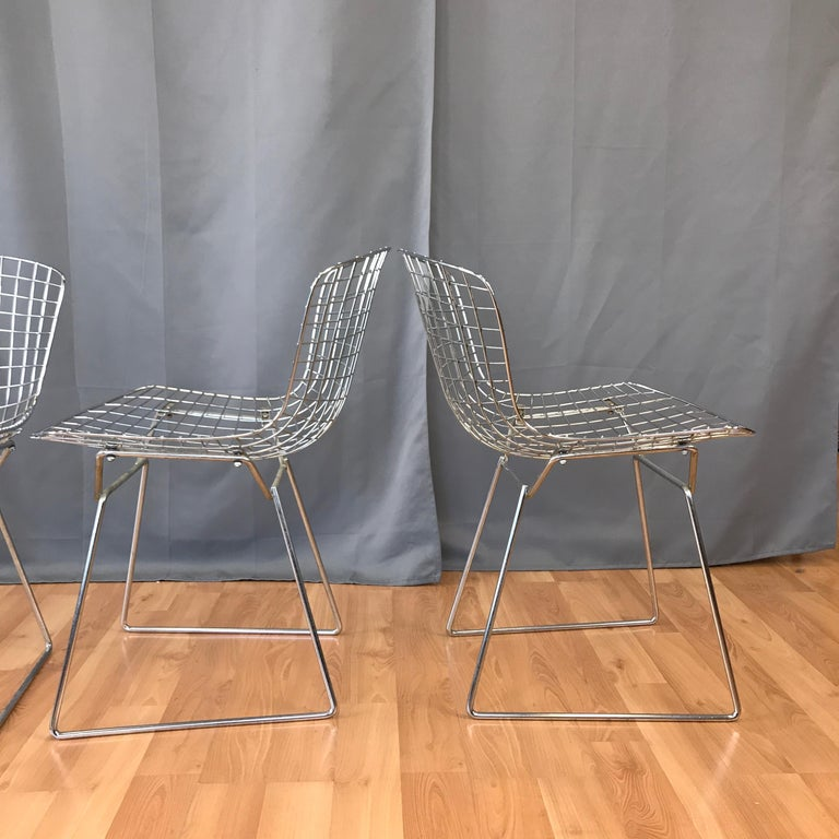 Four Bertoia Chrome Side Chairs for Knoll For Sale 1
