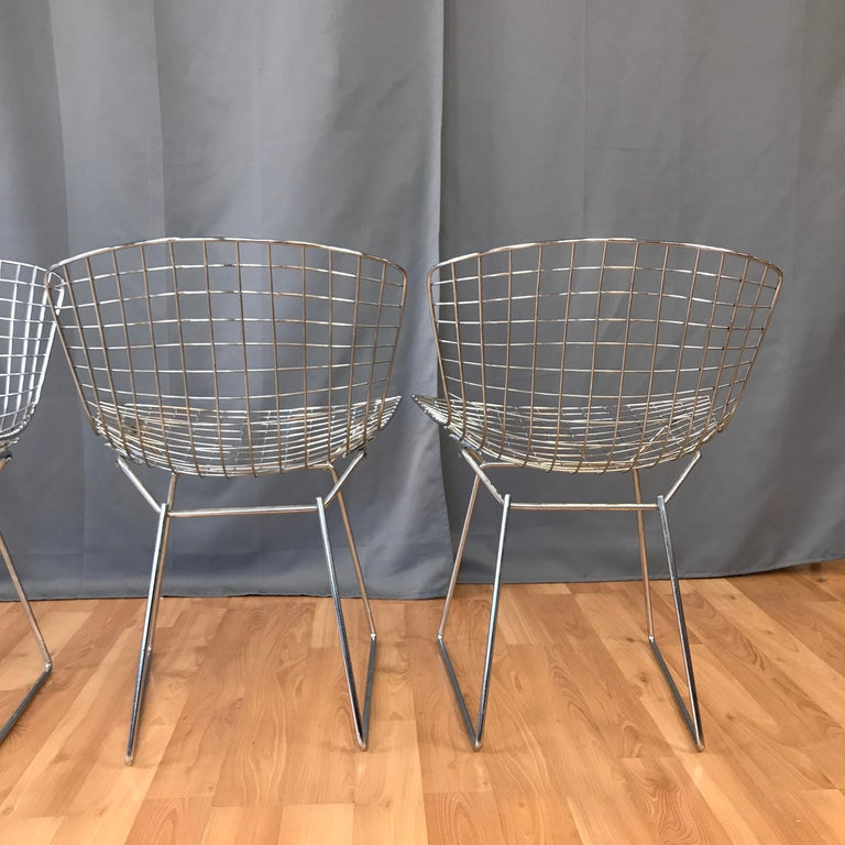 Four Bertoia Chrome Side Chairs for Knoll For Sale 2