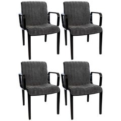 Four Bill Stephens For Knoll Black Lacquered Armchairs