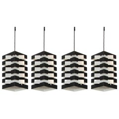 Four Black and Aluminium Dutch Pendant Lamps by Hoogervorst, 1960