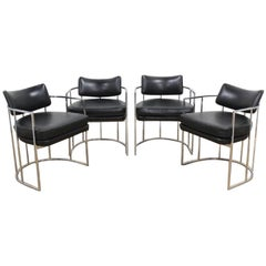 Four Black and Chrome Milo Baughman Barrel Dining Chairs