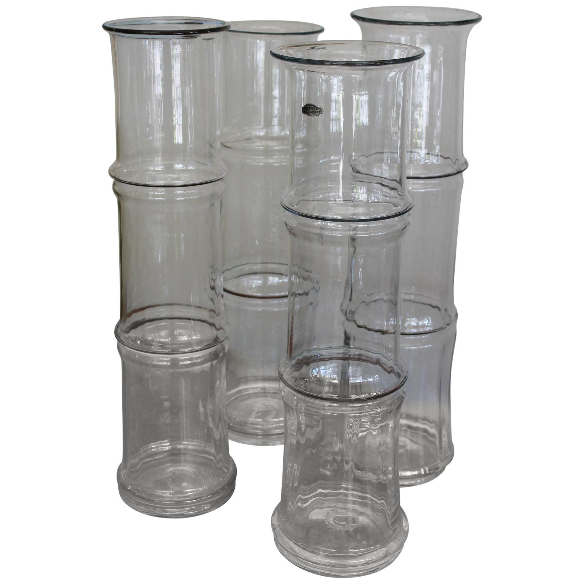 Four Blenko Bamboo Glass Vases