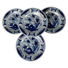 Four Blue and White Delft Dishes Made, Circa 1820