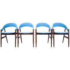 Four Blue Danish Dining Chairs after Renovation