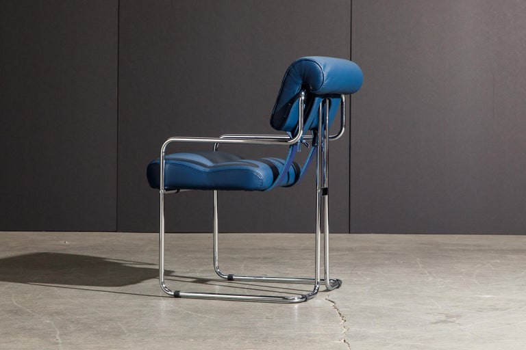 Four Blue Leather 'Tucroma' Chairs by Guido Faleschini for Mariani, Signed, New For Sale 4