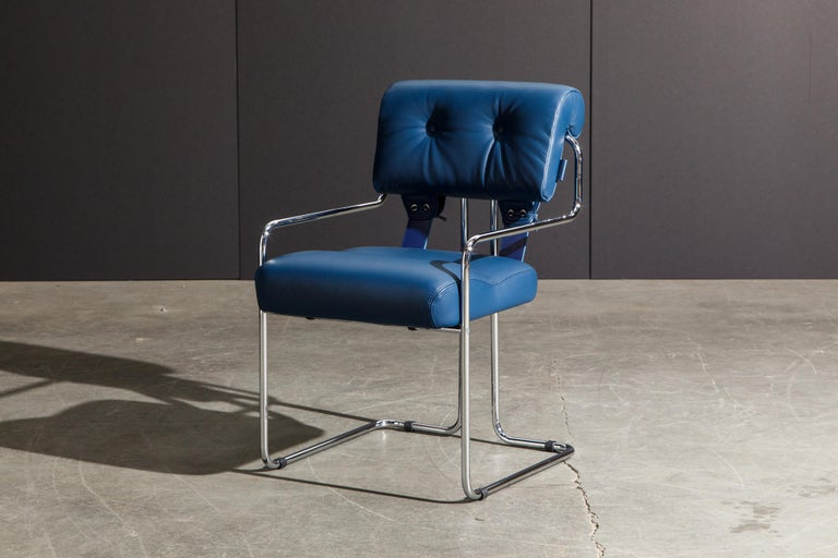 Four Blue Leather 'Tucroma' Chairs by Guido Faleschini for Mariani, Signed, New For Sale 6