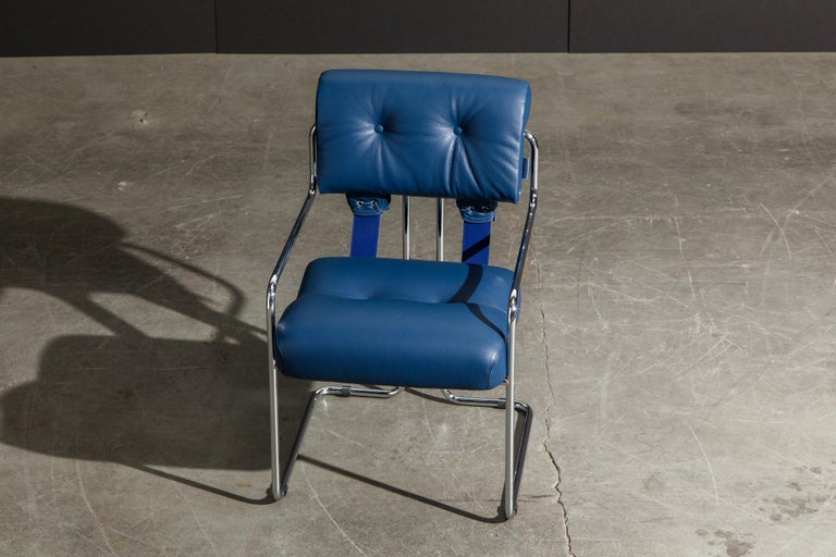 Four Blue Leather 'Tucroma' Chairs by Guido Faleschini for Mariani, Signed, New For Sale 7
