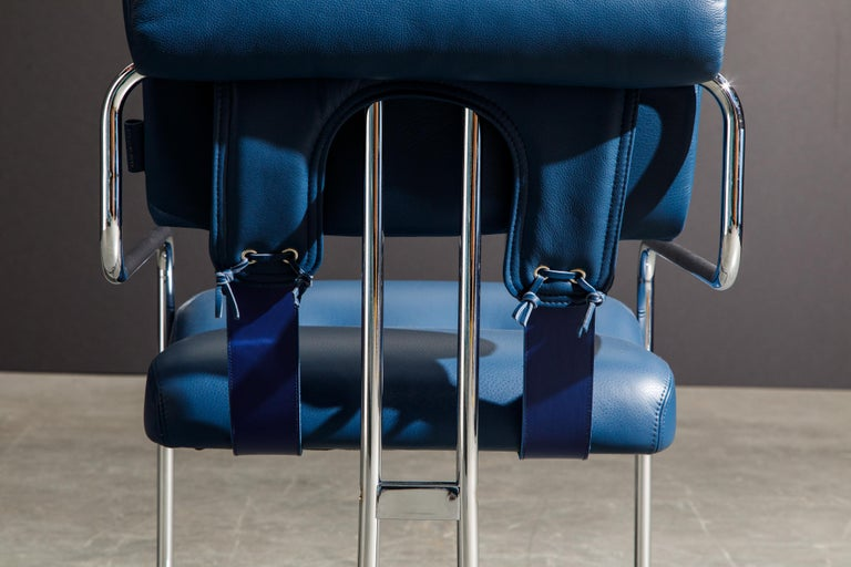 Four Blue Leather 'Tucroma' Chairs by Guido Faleschini for Mariani, Signed, New For Sale 8
