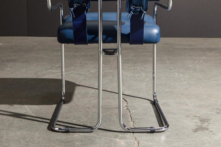 Four Blue Leather 'Tucroma' Chairs by Guido Faleschini for Mariani, Signed, New For Sale 9