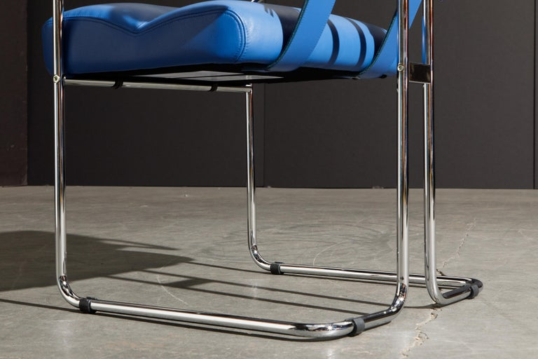 Four Blue Leather 'Tucroma' Chairs by Guido Faleschini for Mariani, Signed, New For Sale 11