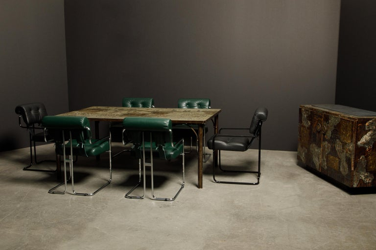 Four Blue Leather 'Tucroma' Chairs by Guido Faleschini for Mariani, Signed, New For Sale 12