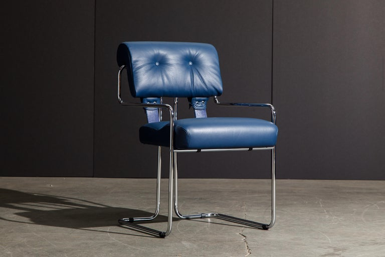 Modern Four Blue Leather 'Tucroma' Chairs by Guido Faleschini for Mariani, Signed, New For Sale