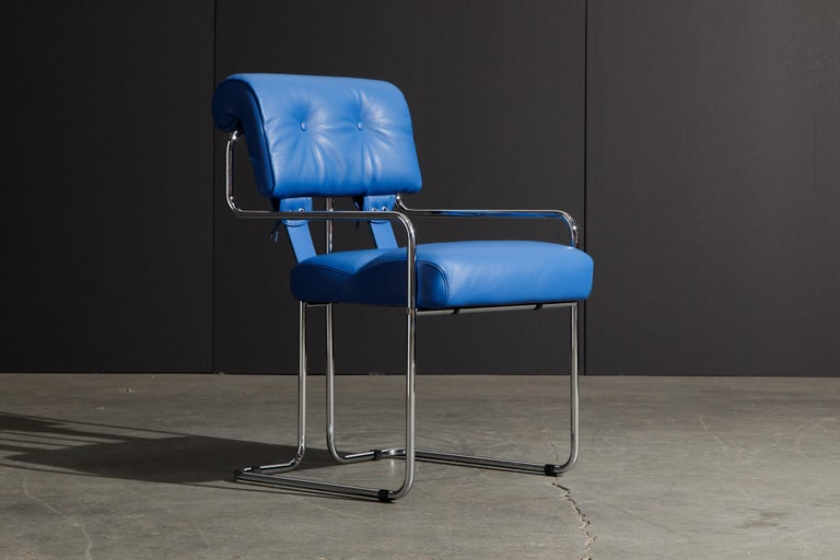 Italian Four Blue Leather 'Tucroma' Chairs by Guido Faleschini for Mariani, Signed, New For Sale