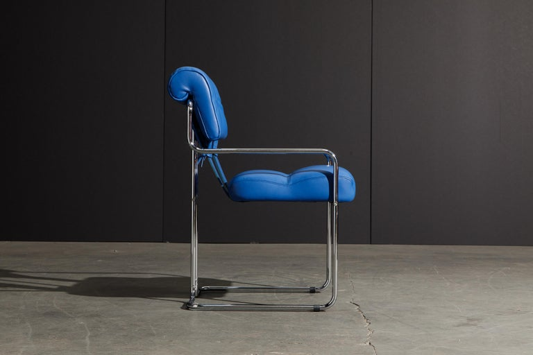 Four Blue Leather 'Tucroma' Chairs by Guido Faleschini for Mariani, Signed, New In New Condition For Sale In Los Angeles, CA
