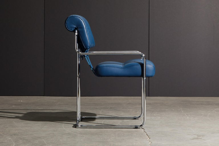 Contemporary Four Blue Leather 'Tucroma' Chairs by Guido Faleschini for Mariani, Signed, New For Sale