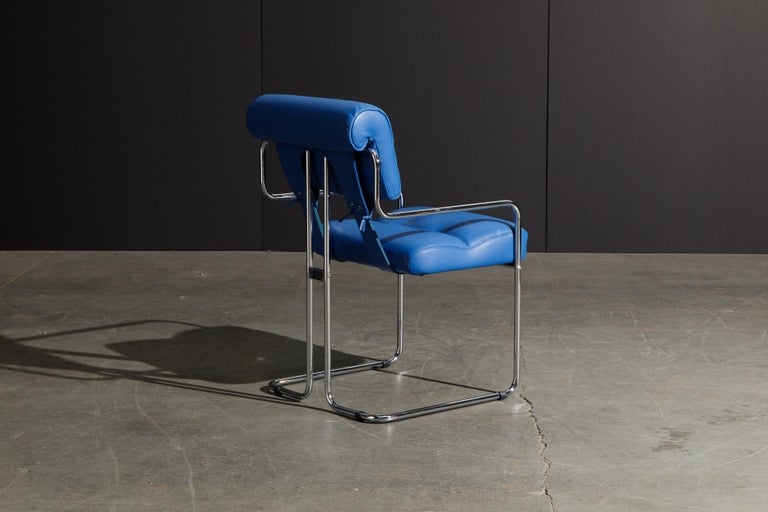 Four Blue Leather 'Tucroma' Chairs by Guido Faleschini for Mariani, Signed, New For Sale 1