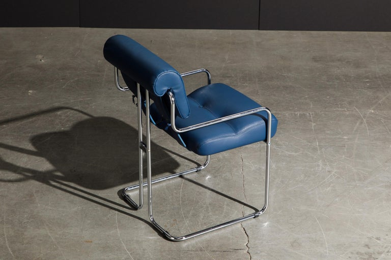 Four Blue Leather 'Tucroma' Chairs by Guido Faleschini for Mariani, Signed, New For Sale 2