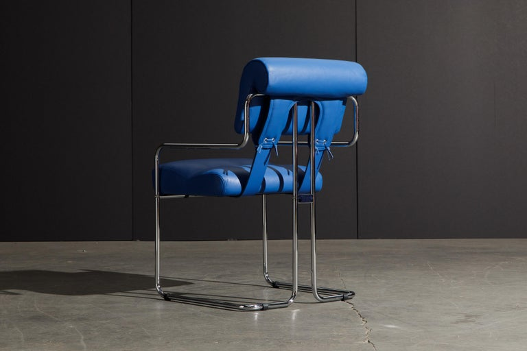 Four Blue Leather 'Tucroma' Chairs by Guido Faleschini for Mariani, Signed, New For Sale 3