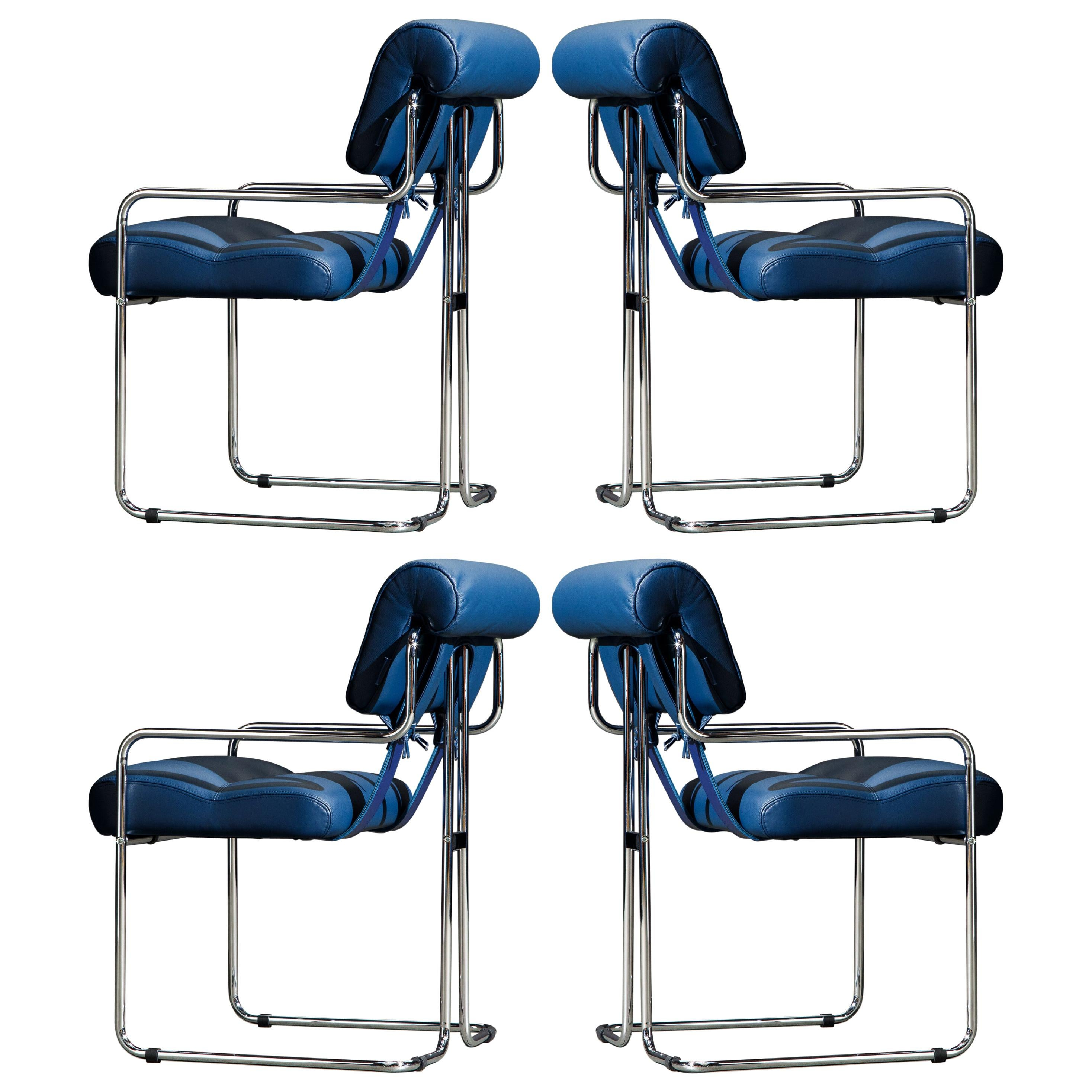Four Blue Leather 'Tucroma' Chairs by Guido Faleschini for Mariani, Signed, New