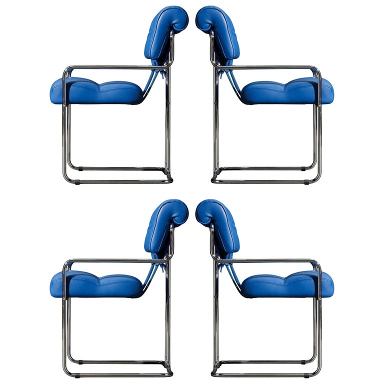Four Blue Leather 'Tucroma' Chairs by Guido Faleschini for Mariani, Signed, New For Sale