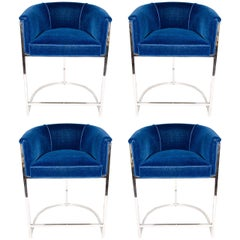 Four Blue Velvet Modernist Luxe Bar Stools in the Style of Milo Baughman