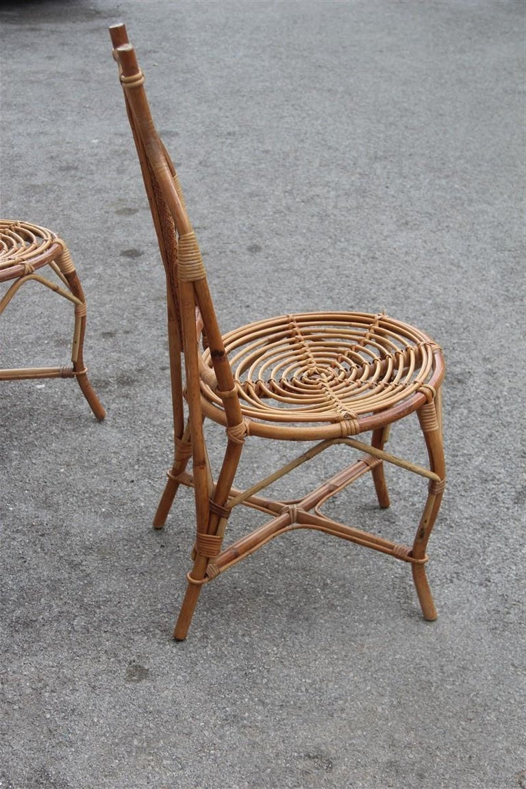 Bonacina Style Chairs Bamboo Italian Design Straw Articulated Design Great Shape For Sale 5