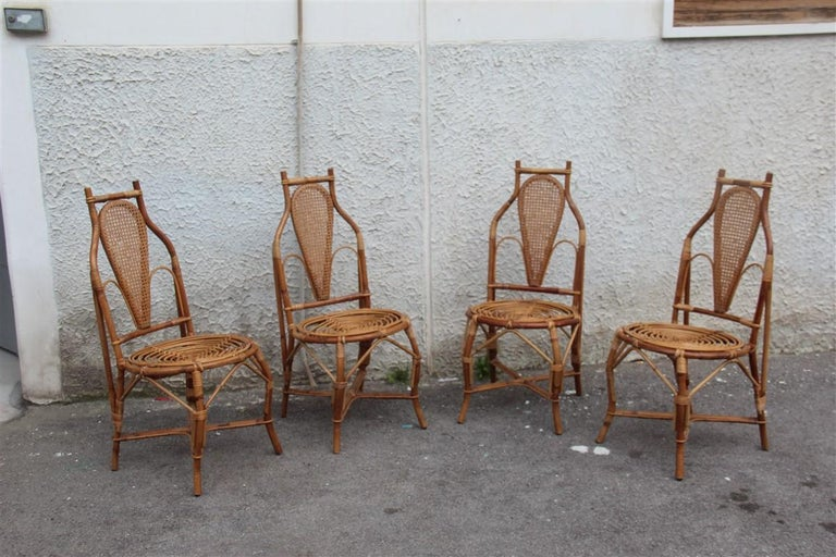 Bonacina Style Chairs Bamboo Italian Design Straw Articulated Design Great Shape For Sale 7