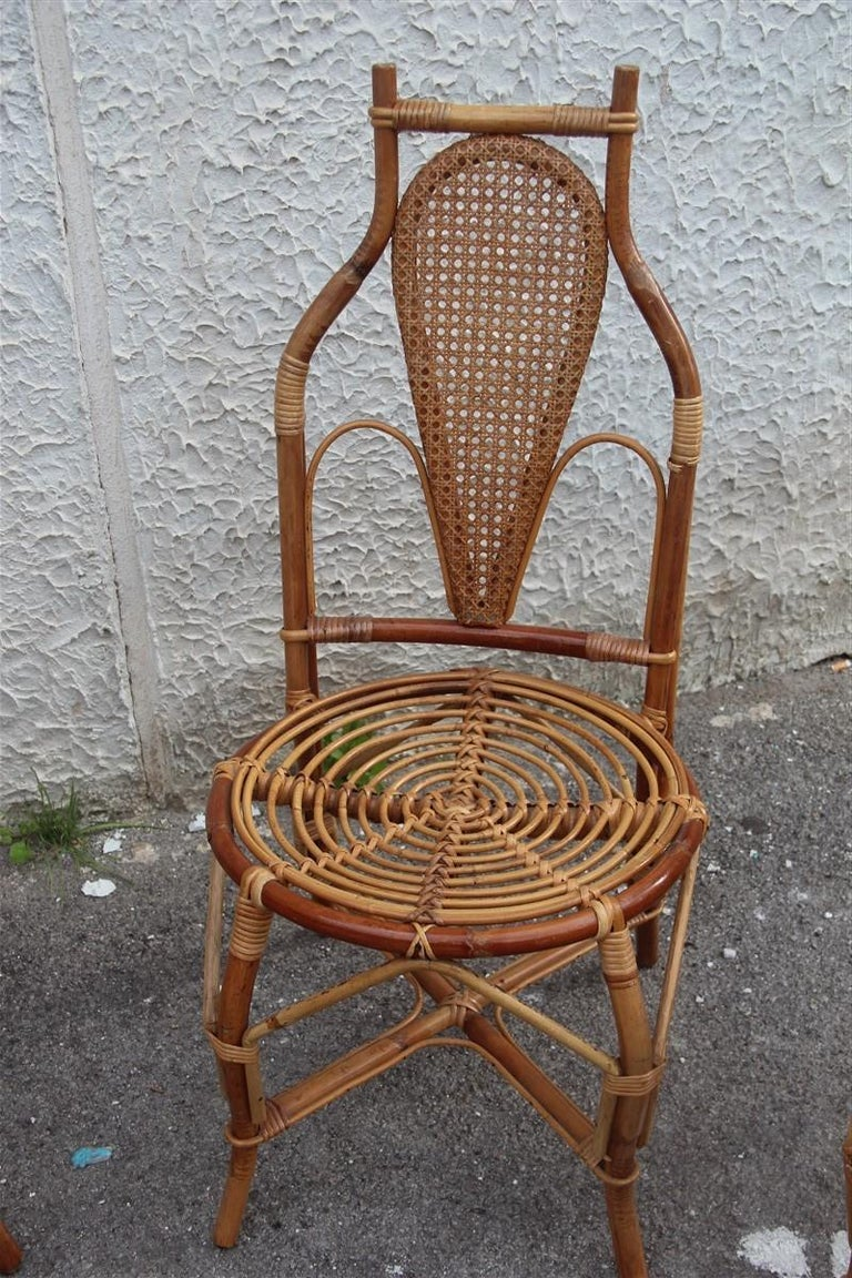 Four Bonacina chairs attributed bamboo Italian design straw articulated design great shape.