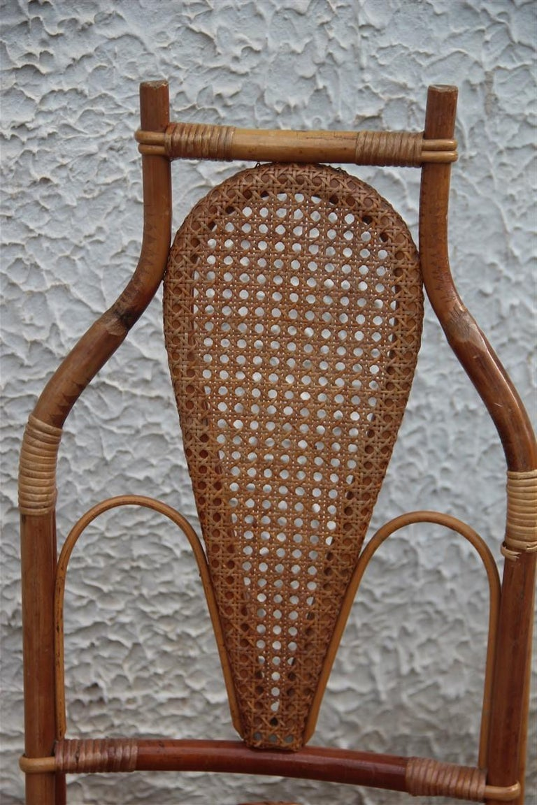 Mid-Century Modern Bonacina Style Chairs Bamboo Italian Design Straw Articulated Design Great Shape For Sale