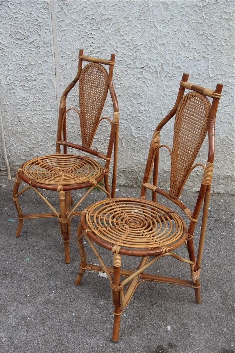 Bonacina Style Chairs Bamboo Italian Design Straw Articulated Design Great Shape In Good Condition For Sale In Palermo, Sicily