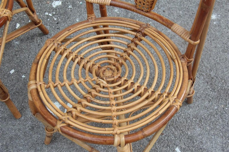 Mid-20th Century Bonacina Style Chairs Bamboo Italian Design Straw Articulated Design Great Shape For Sale
