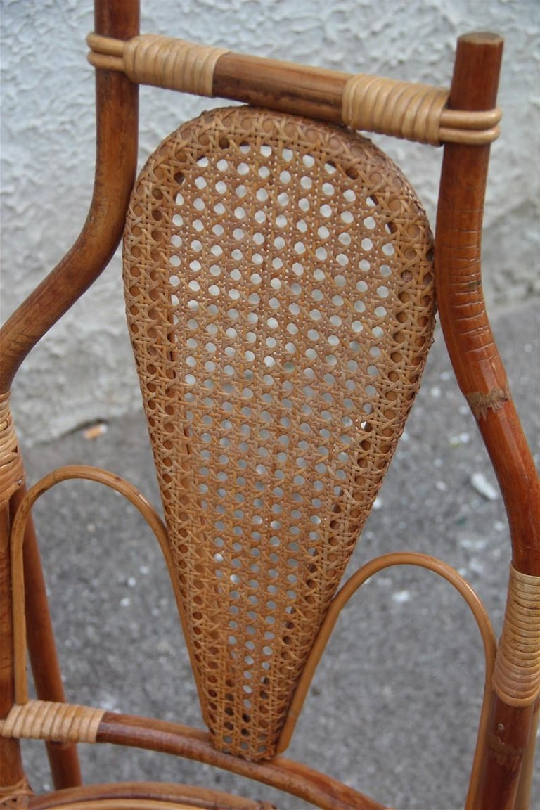 Bonacina Style Chairs Bamboo Italian Design Straw Articulated Design Great Shape For Sale 1