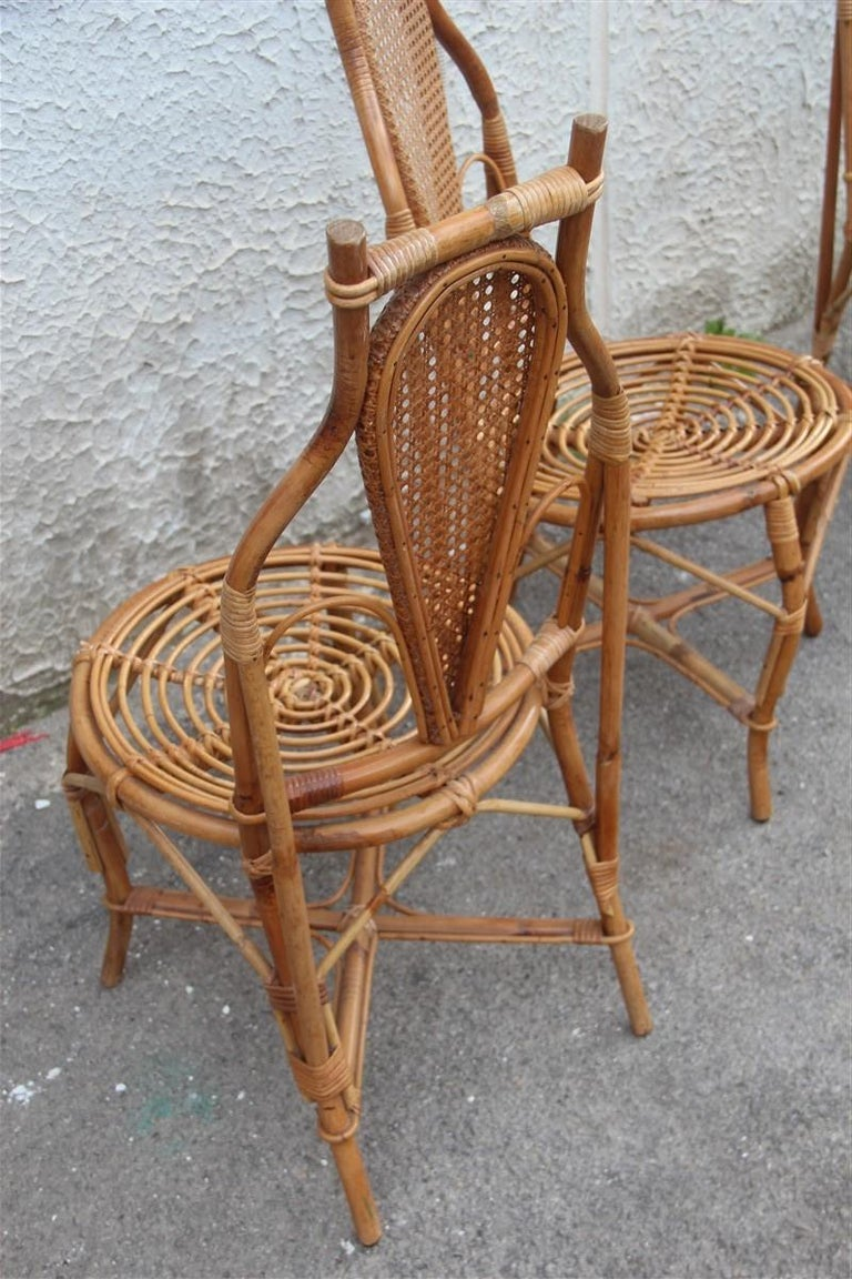 Bonacina Style Chairs Bamboo Italian Design Straw Articulated Design Great Shape For Sale 2